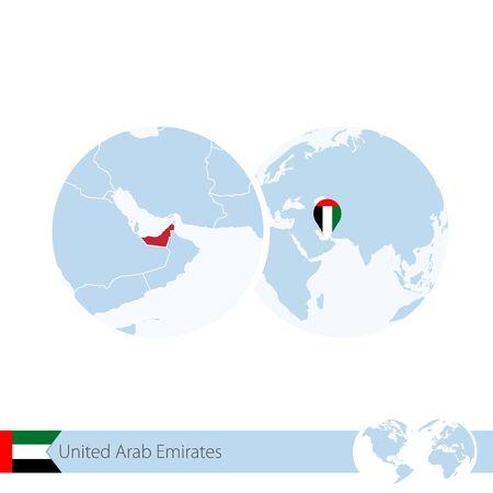 United Arab Emirates on world globe with flag and regional map of UAE. Vector Illustration. Illustration