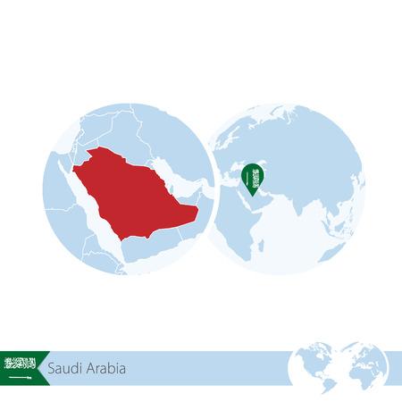stud: Saudi Arabia on world globe with flag and regional map of Saudi Arabia. Vector Illustration.