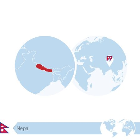 Nepal on world globe with flag and regional map of Nepal. Vector Illustration.
