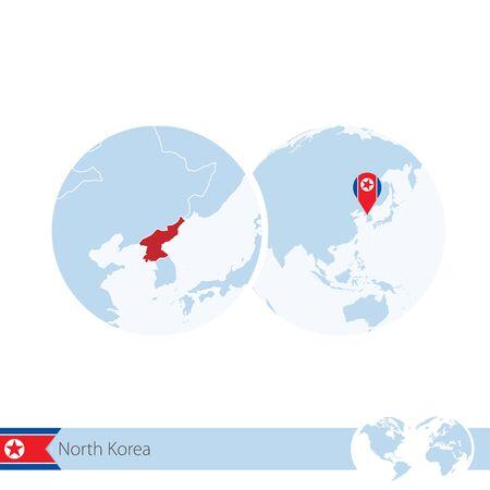 stud: North Korea on world globe with flag and regional map of North Korea. Vector Illustration. Illustration