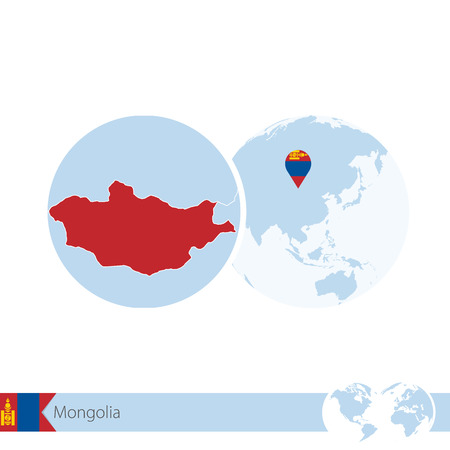 stud: Mongolia on world globe with flag and regional map of Mongolia. Vector Illustration.