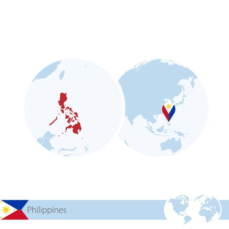 Philippines on world globe with flag and regional map of Philippines. Vector Illustration. Illustration