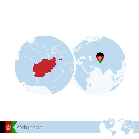 Afghanistan on world globe with flag and regional map of Afghanistan. Vector Illustration.