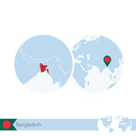 stud: Bangladesh on world globe with flag and regional map of Bangladesh. Vector Illustration. Illustration