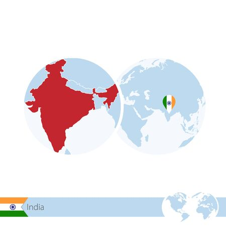 India on world globe with flag and regional map of India. Vector Illustration.