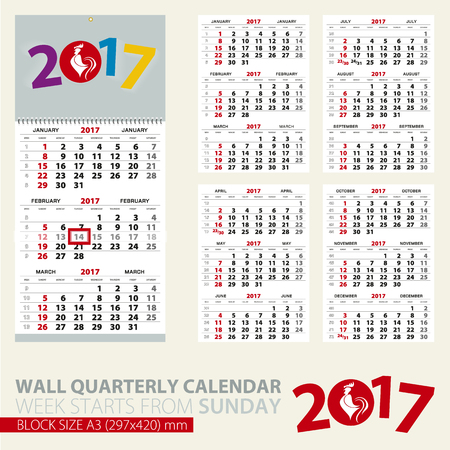 image size: Calendar for 2017 year. Print template of wall quarterly calendar. Block size A3. Week starts from Sunday. 2017 with rooster image. Vector Illustration. Illustration