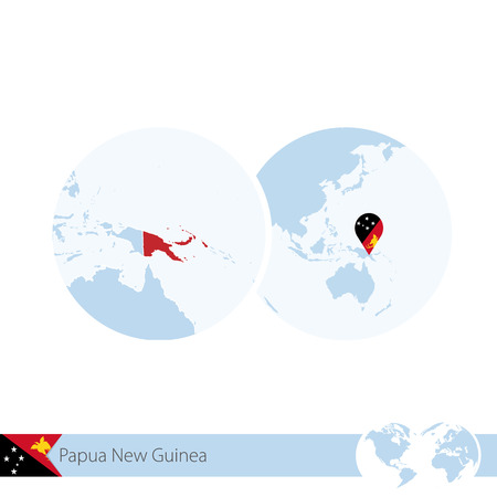 stud: Papua New Guinea on world globe with flag and regional map of Papua New Guinea. Vector Illustration.