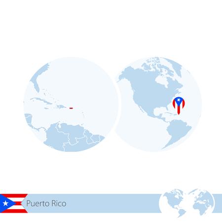 bandera de puerto rico: Puerto Rico on world globe with flag and regional map of Puerto Rico. Vector Illustration.