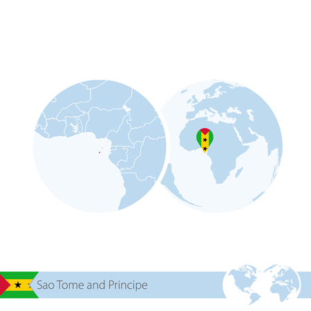tome: Sao Tome and Principe on world globe with flag and regional map of Sao Tome and Principe. Vector Illustration.