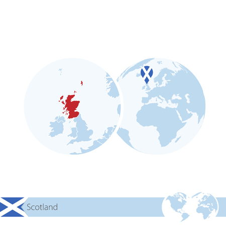 Scotland on world globe with flag and regional map of Scotland. Vector Illustration.