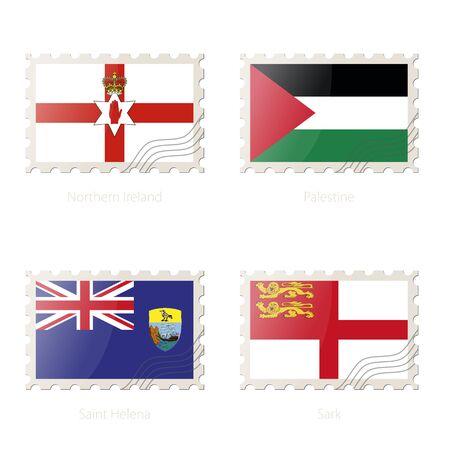 sark: Postage stamp with the image of Northern Ireland, Palestine, Saint Helena, Sark flag. Vector Illustration. Illustration