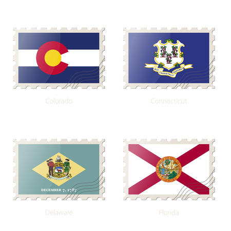 florida state: Postage stamp with the image of Colorado, Connecticut, Delaware, Florida State Flag. Vector Illustration.