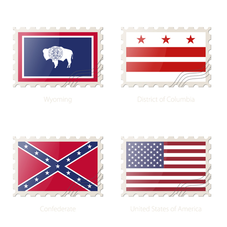 district of columbia: Postage stamp with the image of Wyoming, District of Columbia, Confederate, United States of America Flag. Vector Illustration. Illustration