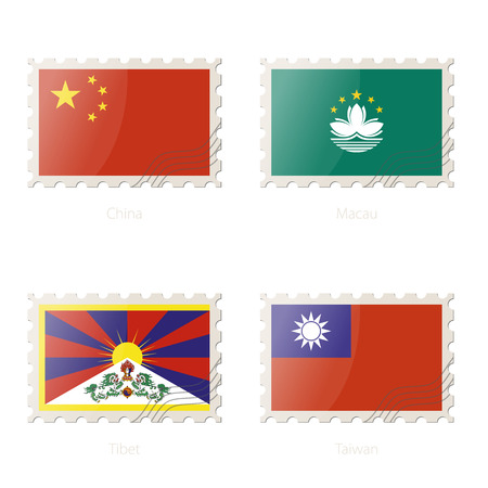 tibet: Postage stamp with the image of China, Macau, Tibet, Taiwan flag. Vector Illustration.