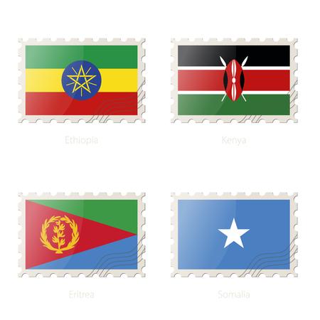 eritrea: Postage stamp with the image of Ethiopia, Kenya, Eritrea, Somalia flag. Vector Illustration. Illustration