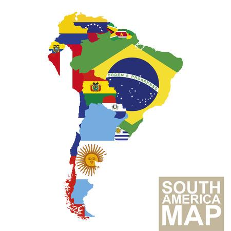 continente americano: Mapa de América del Sur. Mapa del vector de América del Sur con banderas. Ilustración del vector.