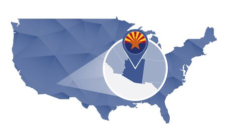 Arizona State magnified on United States map. Arizona USA map in blue color. Vector illustration.