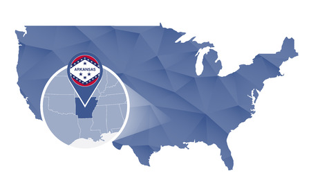 Arkansas State magnified on United States map. Abstract USA map in blue color. Vector illustration.