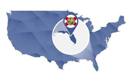 florida state: Florida State magnified on United States map. Abstract USA map in blue color. Vector illustration.