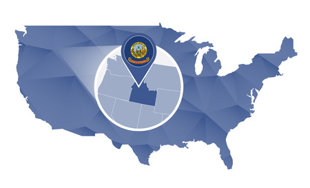 Idaho State magnified on United States map. Abstract USA map in blue color. Vector illustration. Illustration