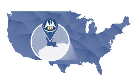baton rouge: Louisiana State magnified on United States map. Abstract USA map in blue color. Vector illustration.