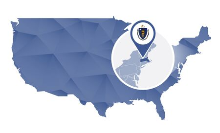 Massachusetts State magnified on United States map. Abstract USA map in blue color. Vector illustration.