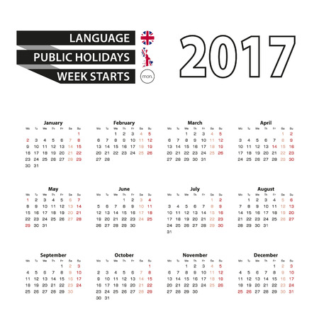 january 1st: Calendar 2017 on English language. With Public Holidays for United Kingdom in year 2017. Week starts from Monday. Simple Calendar. Illustration. Illustration