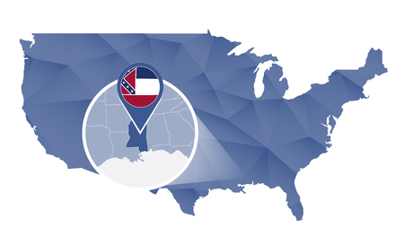 alabama state: Alabama State magnified on United States map. Abstract USA map in blue color. illustration. Illustration