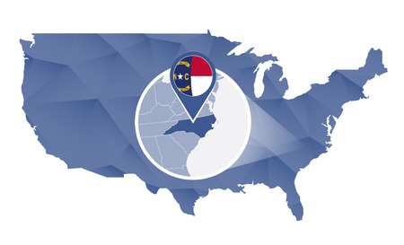 north carolina: North Carolina State magnified on United States map. Abstract USA map in blue color. illustration.