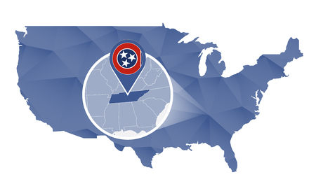 Tennessee State magnified on United States map. Abstract USA map in blue color. illustration.