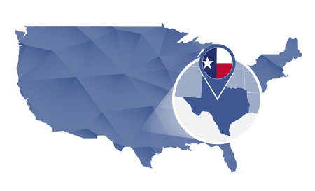 Texas State magnified on United States map. Abstract USA map in blue color. illustration.