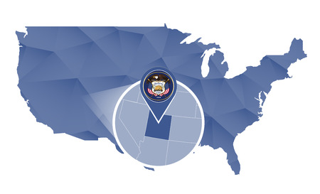 Utah State magnified on United States map. Abstract USA map in blue color.  illustration.