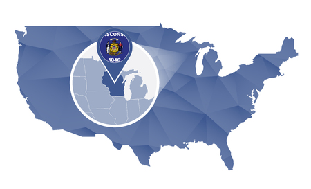 wisconsin state: Wisconsin State magnified on United States map. Abstract USA map in blue color. illustration.