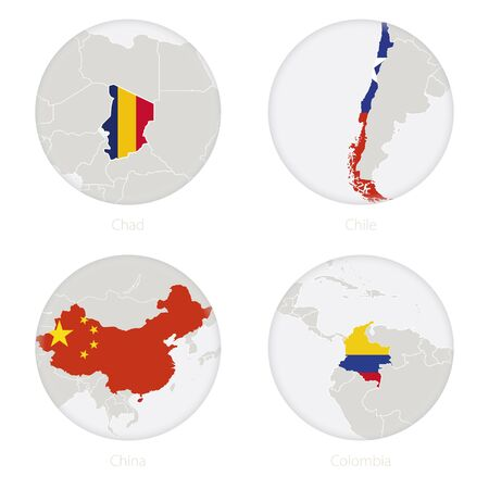 Chad, Chile, China, Colombia map contour and national flag in a circle. Vector Illustration. Illustration