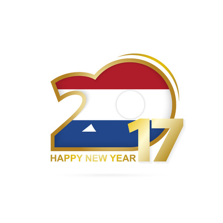 joyful: Year 2017 with Netherlands Flag pattern. Happy New Year Design on white background. Vector Illustration.
