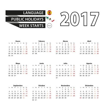 event planner: Calendar 2017 on Spanish language. With Public Holidays for Mexico in year 2017. Week starts from Monday. Simple Calendar. Vector Illustration.