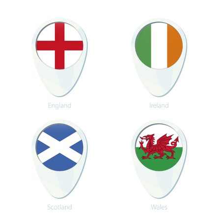 national geographic: England, Ireland, Scotland, Wales flag location map pin icon. England Flag, Ireland Flag, Scotland Flag, Wales Flag. Vector Illustration. Illustration