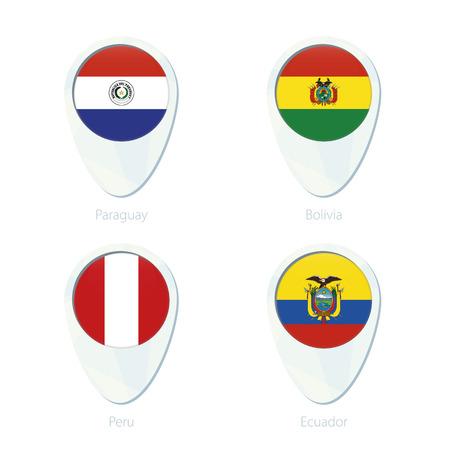 bandera de paraguay: Paraguay, Bolivia, Perú, Ecuador icono de mapa de pines ubicación marcador. Bandera de Paraguay, Bandera de Bolivia, Bandera de Perú, Bandera de Ecuador. Ilustración del vector.