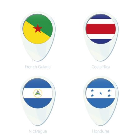 French Guiana, Costa Rica, Nicaragua, Honduras flag location map pin icon. French Guiana Flag, Costa Rica Flag, Nicaragua Flag, Honduras Flag. Vector Illustration.