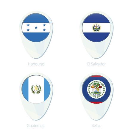 bandera de el salvador: Honduras, El Salvador, Guatemala, Belice ubicación marcador icono de mapa de pines. Bandera de Honduras, El Salvador Flag, Guatemala Flag, la bandera de Belice. Ilustración del vector.
