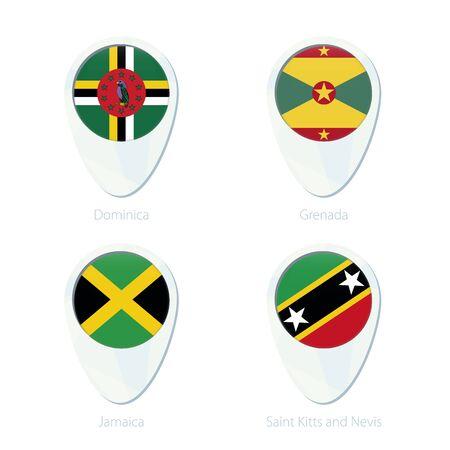 stud: Dominica, Grenada, Jamaica, Saint Kitis and Nevis flag location map pin icon. Dominica Flag, Grenada Flag, Jamaica Flag, Saint Kitis and Nevis Flag. Vector Illustration.