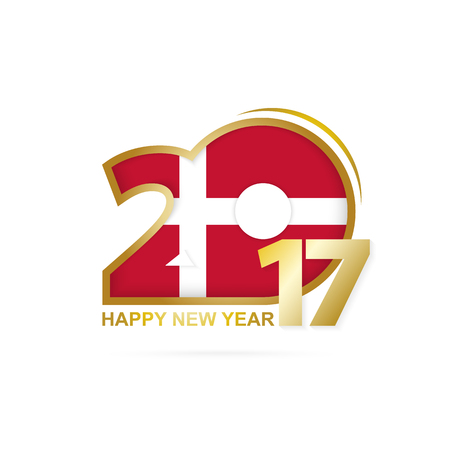 Year 2017 with Denmark Flag pattern. Happy New Year Design on white background. Vector Illustration. Illustration