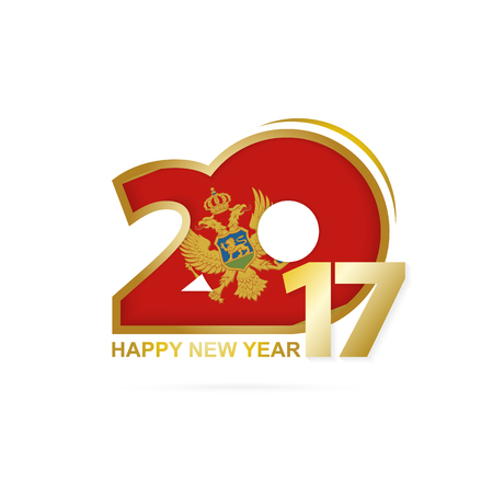 Year 2017 with Montenegro Flag pattern. Happy New Year Design on white background. Vector Illustration.