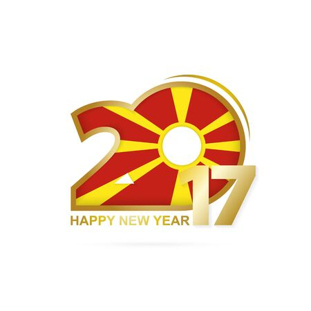 Year 2017 with Macedonia Flag pattern. Happy New Year Design on white background. Vector Illustration.