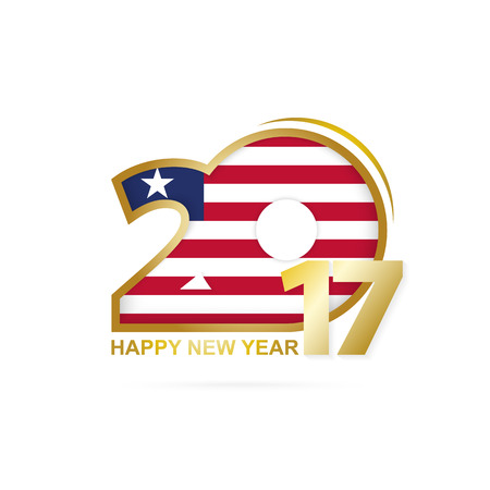 Year 2017 with Liberia Flag pattern. Happy New Year Design on white background. Vector Illustration.