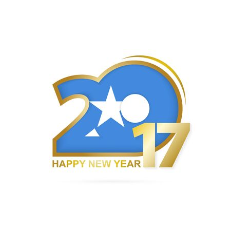 Year 2017 with Somalia Flag pattern. Happy New Year Design on white background. Vector Illustration. Illustration