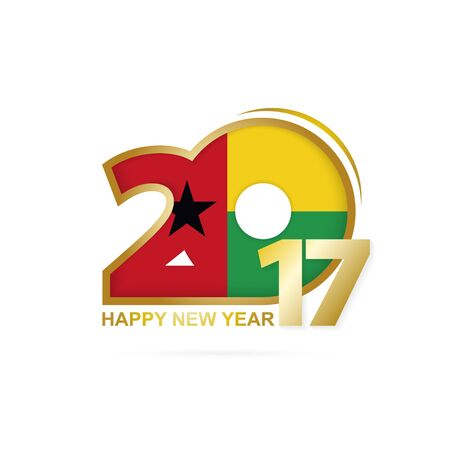 Year 2017 with Guinea-Bissau Flag pattern. Happy New Year Design on white background. Vector Illustration.