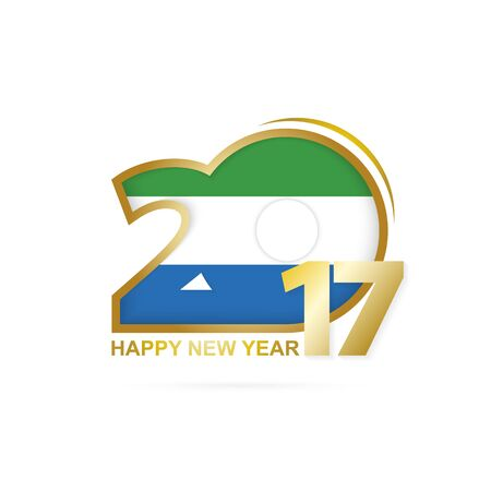Year 2017 with Sierra Leone Flag pattern. Happy New Year Design on white background. Vector Illustration.