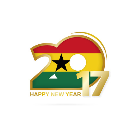 Year 2017 with Ghana Flag pattern. Happy New Year Design on white background. Vector Illustration. Illustration