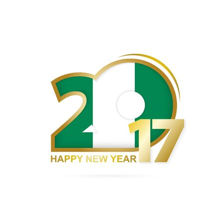 Year 2017 with Nigeria Flag pattern. Happy New Year Design on white background. Vector Illustration. Illustration